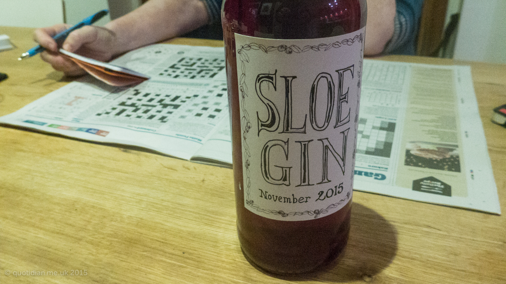 Wednesday December 16th (2015) this years sloe gin