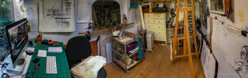 Friday October 12th (2018) my chaotic studio at the moment