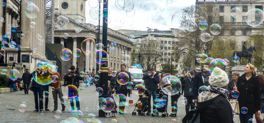 Tuesday November 10th (2015) bubbles in trafalgar square