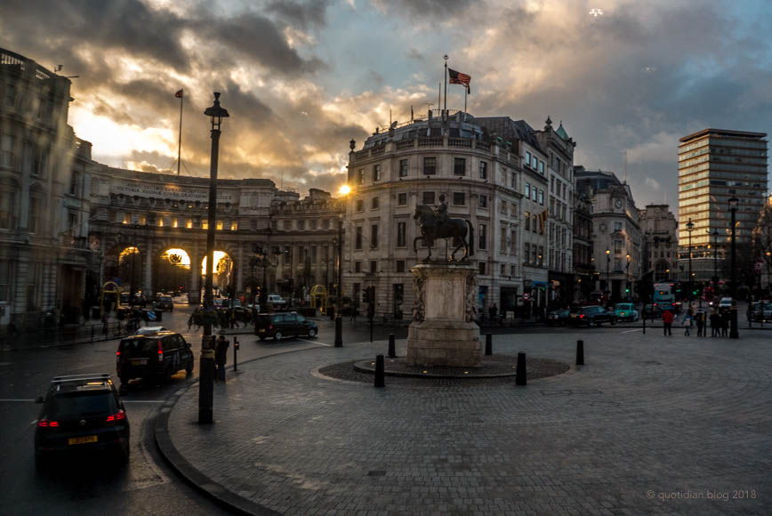Tuesday January 16th (2018) admiralty arch sunset