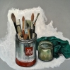 22nd: brushes, turps jar and rag